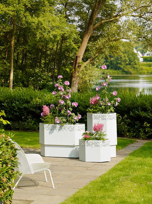 Vue Jardin GartenBlumentöpfe und Vasen Eisen/Stahl Weiß