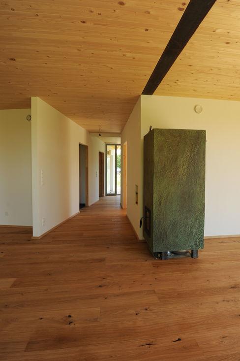 Innenansicht Erdgeschoß Symbios Architektur Moderner Flur, Diele & Treppenhaus Holz Braun