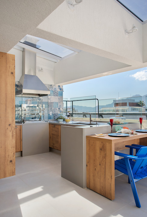 Churrasqueira Ana Adriano Design de Interiores Varandas, marquises e terraços tropicais Granito Cinzento