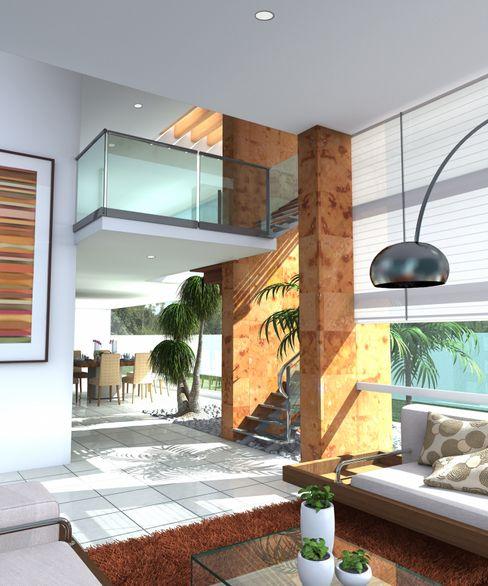 Acceso de doble atura Milla Arquitectos S.A. de C.V. Pasillos, vestíbulos y escaleras minimalistas Blanco