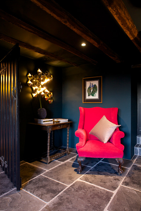 Cosy corner Woodford Architecture and Interiors Country style living room Copper/Bronze/Brass Blue
