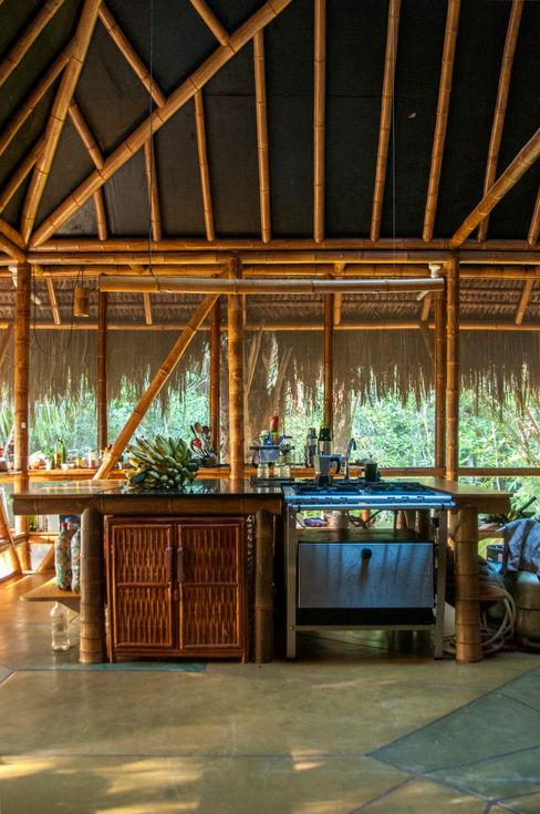 IR arquitectura Tropikal Mutfak Bambu Ahşap rengi