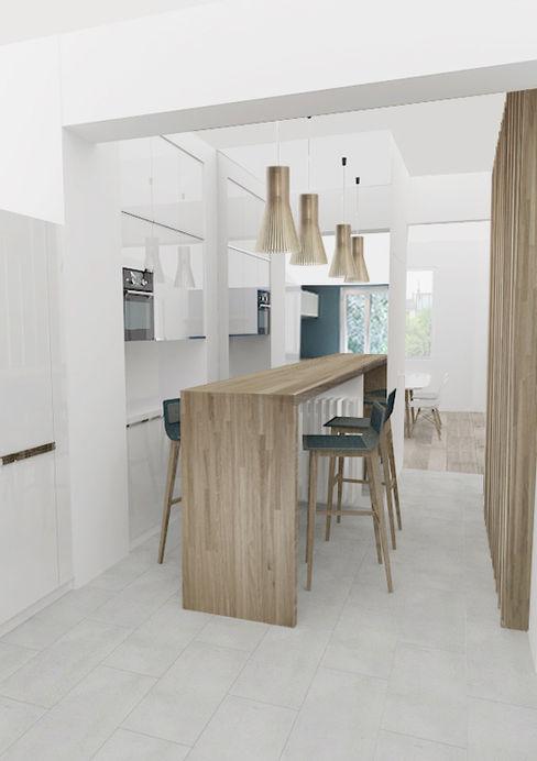 Yeme + Saunier Minimalist kitchen Solid Wood White
