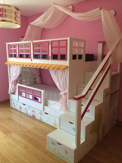 Oficina Rústica Dormitorios infantiles Camas y cunas Madera maciza Multicolor