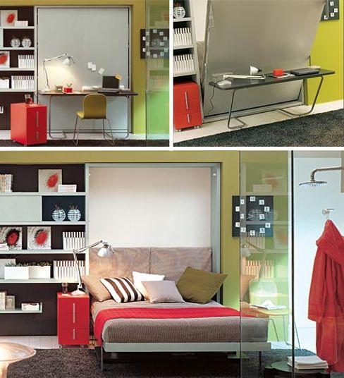 transforming-hidden-bed-desk lookingstudio StudioScrivanie Legno Grigio