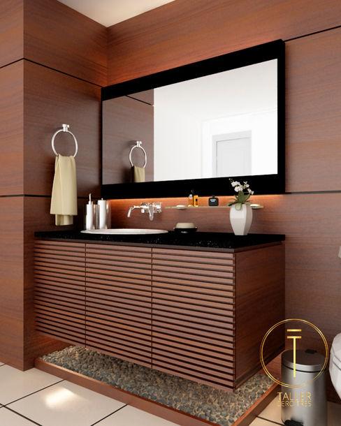 Taller 03 現代浴室設計點子、靈感&圖片 木頭 Brown