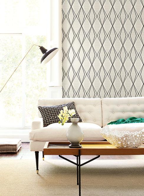 Diseño Interior & Papel Tapiz Стены и пол в стиле модерн Бумага Белый