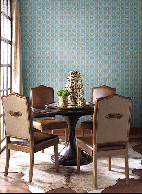 Geo Ombre Diseño Interior & Papel Tapiz Paredes y pisos modernos Sintético Turquesa