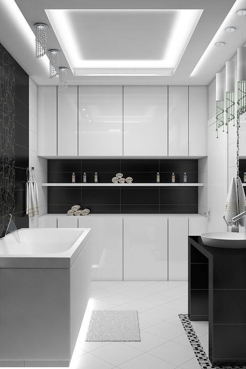 Дизайн квартиры 120 м.кв Дизайн студия Жанны Ращупкиной Ванная комната в стиле минимализм