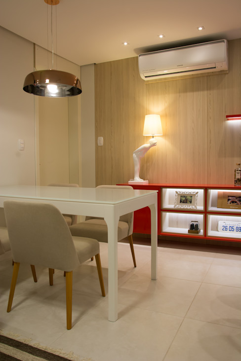 Buffet e apoio ao jantar ARQ Ana Lore Burliga Miranda Salas de jantar modernas MDF Vermelho
