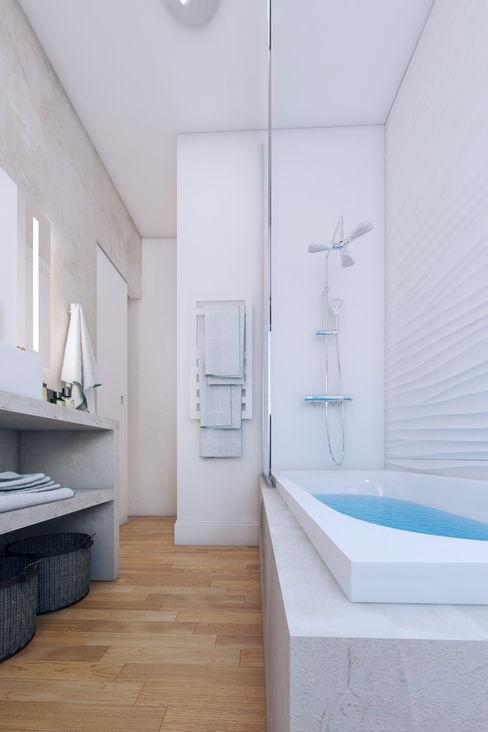 Agence KP モダンスタイルの お風呂 コンクリート 灰色