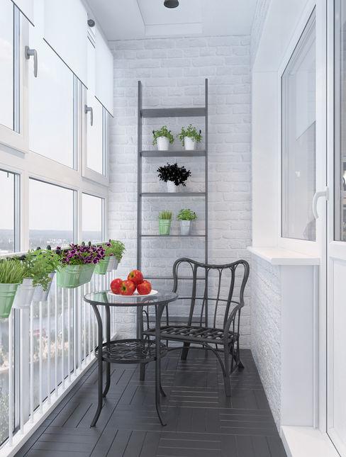 Alyona Musina Scandinavian style balcony, veranda & terrace