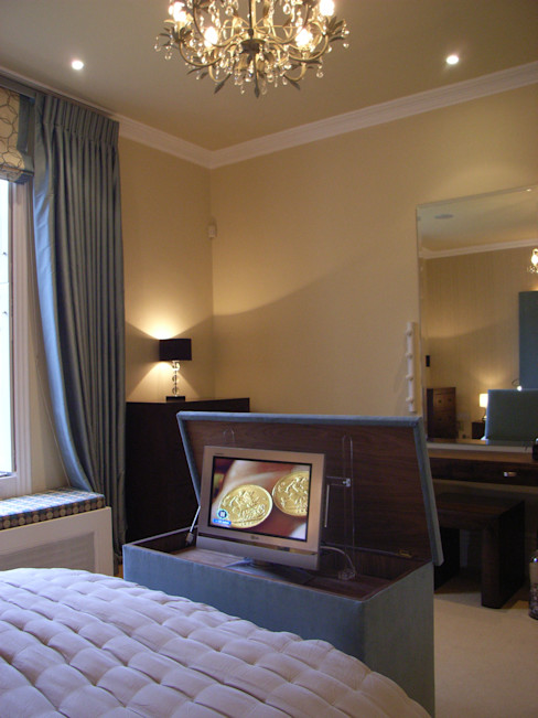 TV hidden in an ottoman Style Within Modern Bedroom