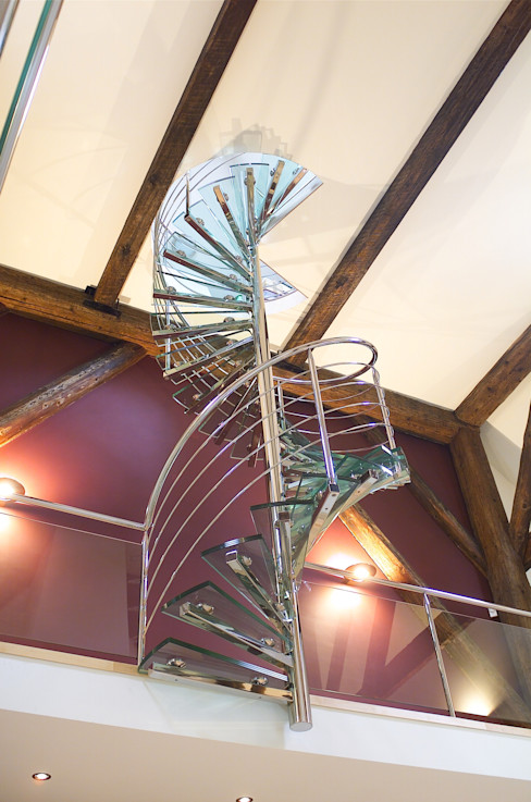 EeStairs® Spiral staircases EeStairs   Stairs and balustrades Modern corridor, hallway & stairs Glass