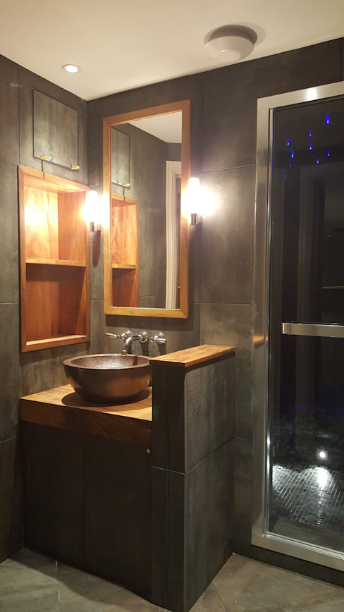 Copper sink and steam shower Design Republic Limited Industrial style bathroom
