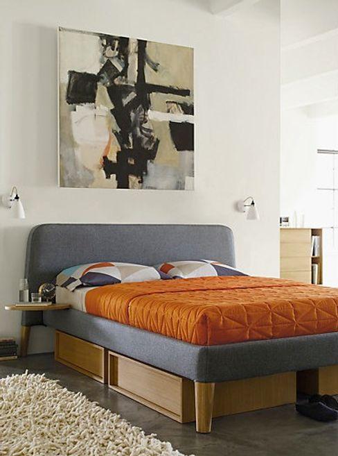 Parallel Queen Bed & Under-Bed Storage Design Within Reach Mexico RecámarasCamas y cabeceras Textil Gris