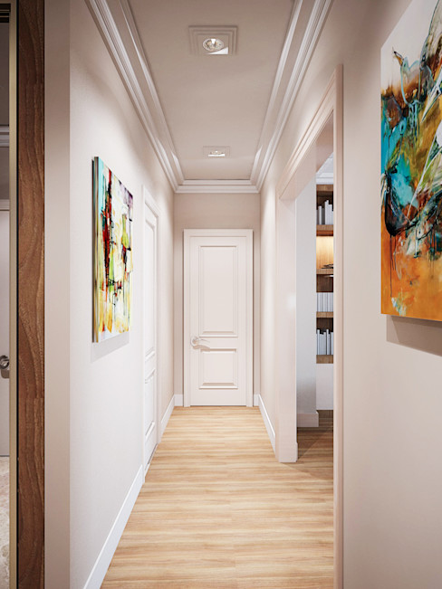 3-bedroom Apartment, Moscow Alexander Krivov Classic style corridor, hallway and stairs Beige