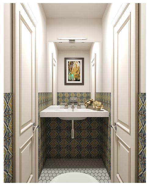 3-bedroom Apartment, Moscow Alexander Krivov Classic style bathroom Green