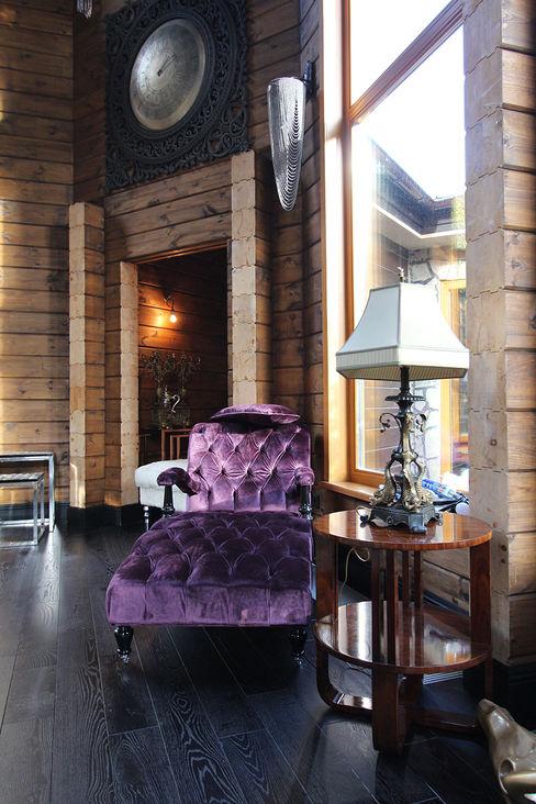Log House Orkun Indere Interiors Rustik Oturma Odası Masif Ahşap Mor