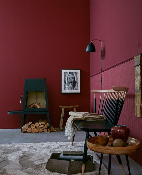 SCHÖNER WOHNEN-FARBE Pareti & Pavimenti in stile moderno Rosso