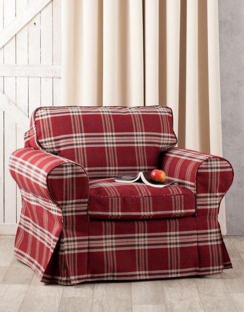 homify 客廳沙發與扶手椅 布織品 Red