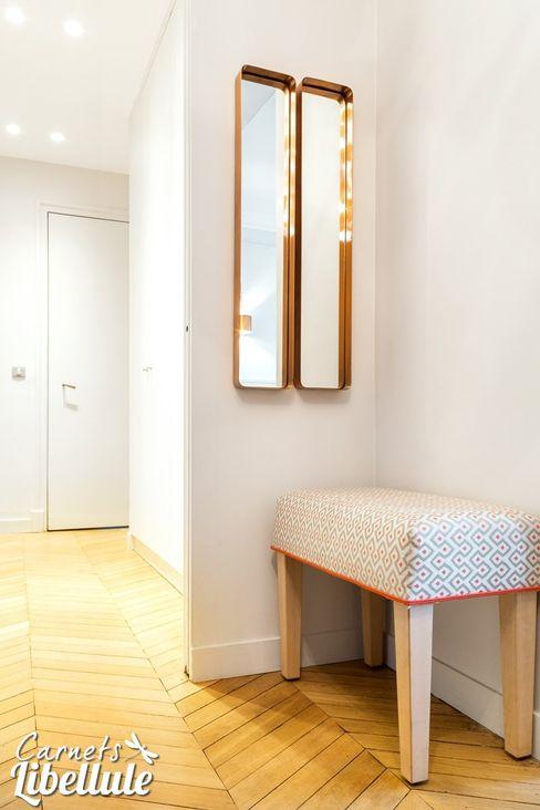 Banc sur mesure et miroirs cuivrés homify Couloir, entrée, escaliers modernes