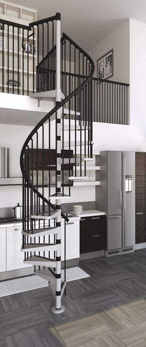 Estilo contemporáneo y elegante RINTAL Vestíbulos, pasillos y escalerasEscaleras Metal Metálico/Plateado