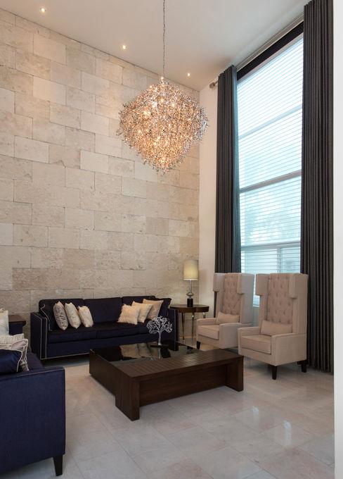 Casa CG Grupo Arsciniest Salones de estilo moderno Piedra Blanco