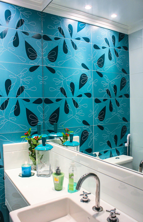 Lavabo Turquesa Sophie Design de Interiores Banheiros modernos Quartzo Turquesa