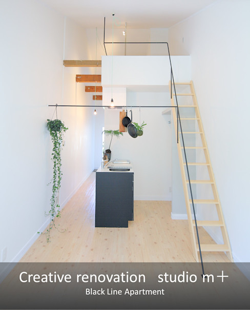 studio m+ by masato fujii Ruang Keluarga Modern Besi/Baja White