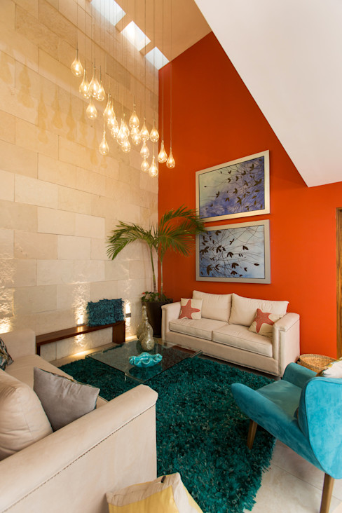 Casa Banak Grupo Arsciniest Salas modernas Piedra Naranja