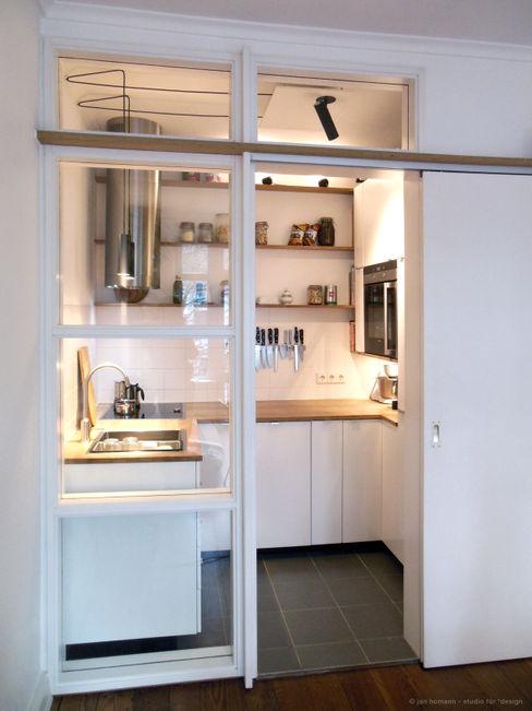 Miniküche studio jan homann Moderne Küchen Holz Weiß