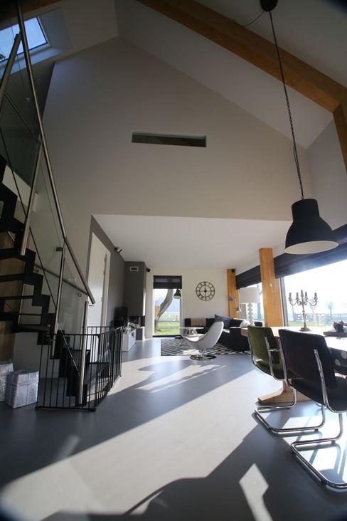 Hoogsteder Architecten Salas de estilo moderno Vidrio Blanco