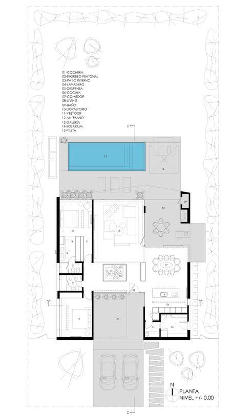 PLANTA GENERAL VISMARACORSI ARQUITECTOS Casas de estilo minimalista