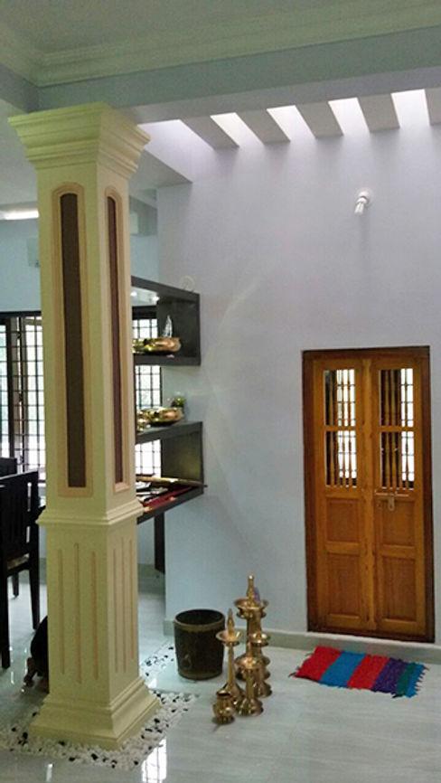 Our Interior Design Works Aishwarya Developers Asian style balcony, veranda & terrace Aluminium/Zinc Amber/Gold
