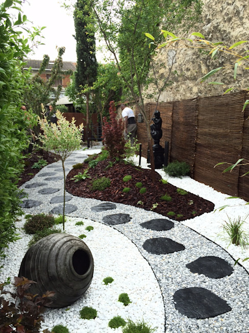 Jardin japonais et zen DCPAYSAGE Jardin asiatique Fer / Acier Effet bois