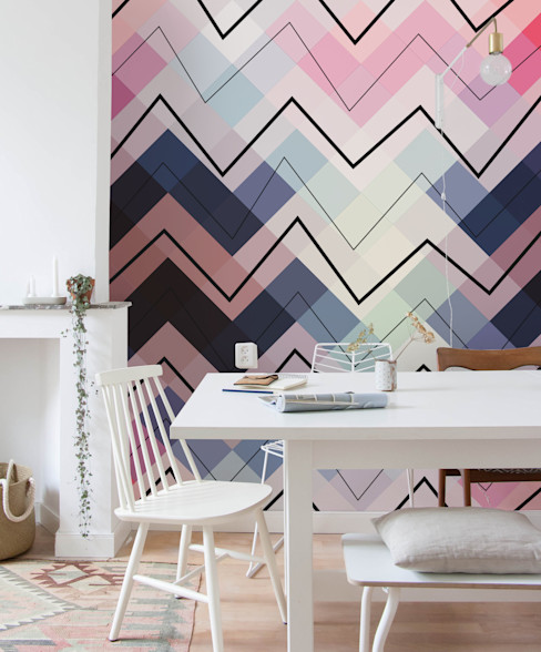 Pastel Chevron Pixers Eclectic style dining room Multicolored