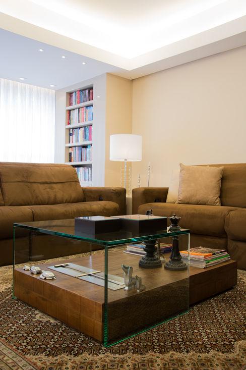 SALA DE ESTAR arquiteta aclaene de mello Salas de estar modernas Vidro Efeito de madeira