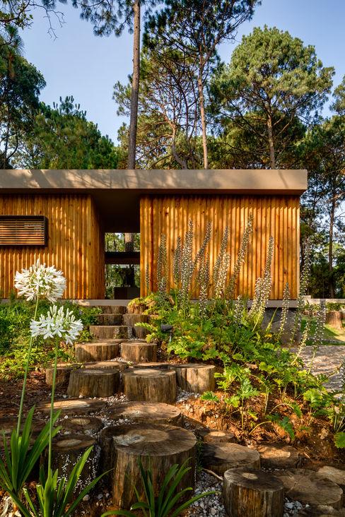 Facahda de acceso - Casa 5 Weber Arquitectos Casas de estilo escandinavo Acabado en madera