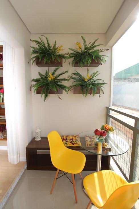 TERRAÇO GOURMET Pricila Dalzochio Arquitetura e Interiores Varandas, marquises e terraços modernos Amarelo