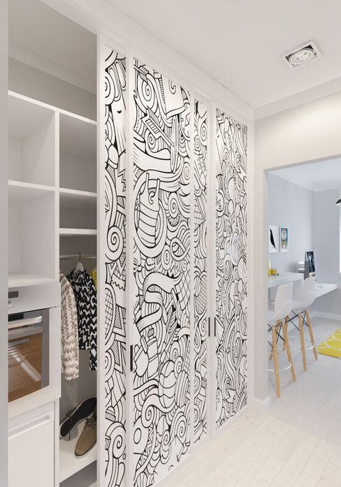 construktivno Spogliatoio in stile scandinavo Truciolato Bianco