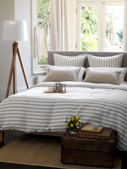 Coastal Stripe Natural Linen Bedding Set Secret Linen Store 臥室配件與裝飾品 棉 Beige