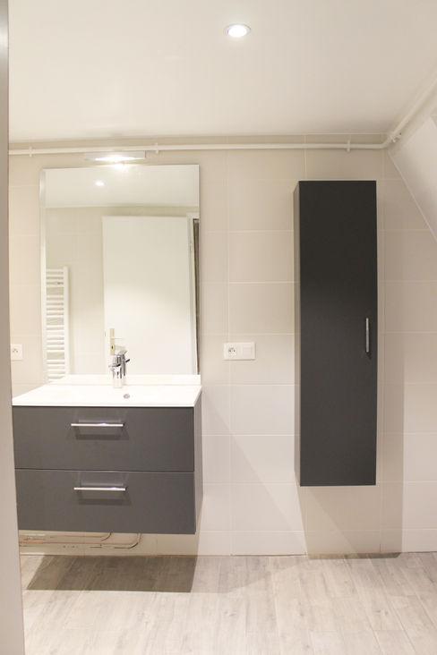 meuble vasque Agence ADI-HOME Salle de bain moderne Bois composite Gris