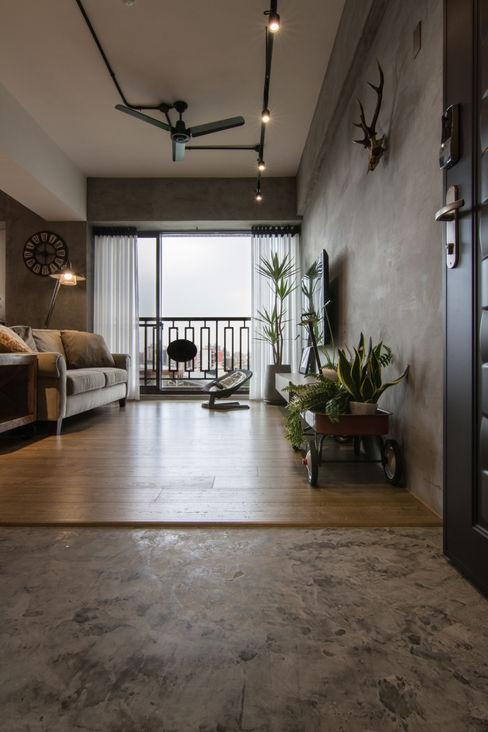珞石設計 LoqStudio Ruang Keluarga Gaya Industrial