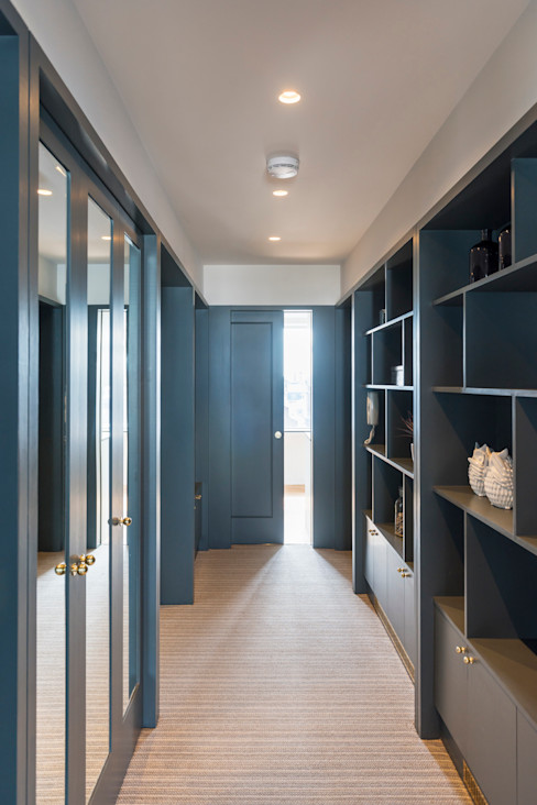 Hallway with shelving. Gundry & Ducker Architecture Modern Corridor, Hallway and Staircase Wood Blue