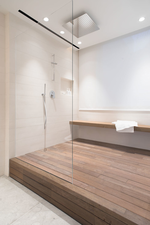 A Boundless Shower Space Sensearchitects Limited Modern Bathroom Stone Beige