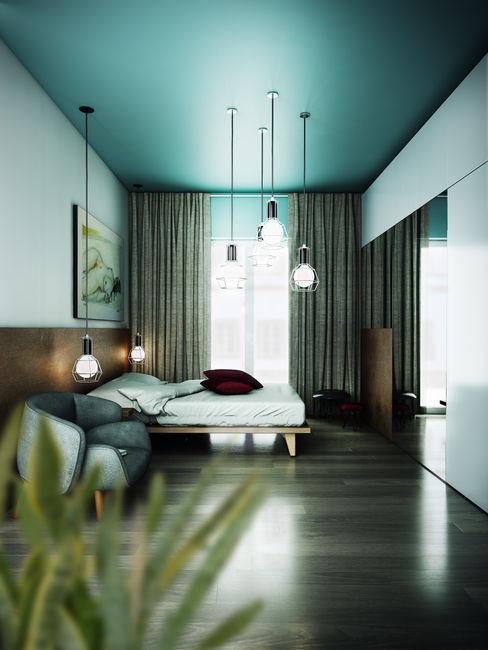 Casa PISI rendering4you Camera da letto in stile industriale Turchese