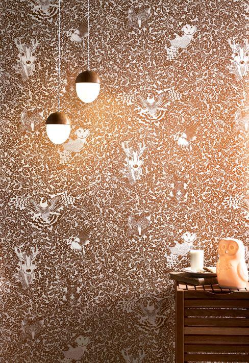 FOREST Copper Rust Metallic Screen Print Wallpaper 10m Roll Hevensent HouseholdAccessories & decoration Metallic/Silver