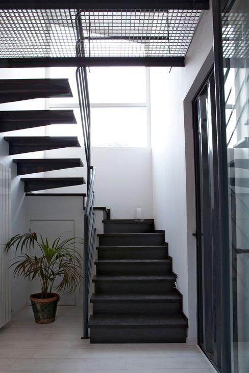 james&mau 現代風玄關、走廊與階梯