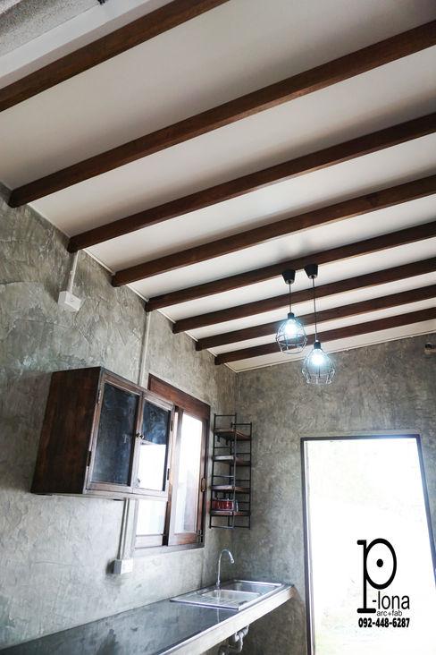 P-lona Cocinas de estilo industrial Madera maciza